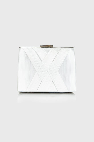 Clara Silver Pleated Box Clutch