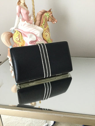 Black Diamante Strip Box Clutch - LadyVB   s.r.o - 1
