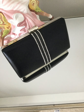 Black Diamante Strip Box Clutch - LadyVB   s.r.o - 2