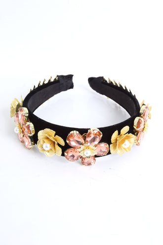 Aoife Leaf and Peach Flower Detail Headband