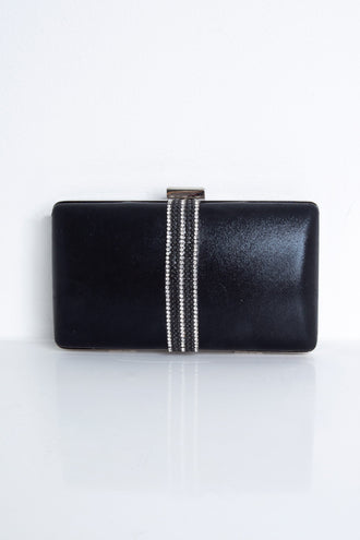 Belinda Black Diamante Strip Box Clutch Bag