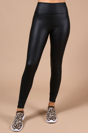 Rio Black Faux Leather Leggings