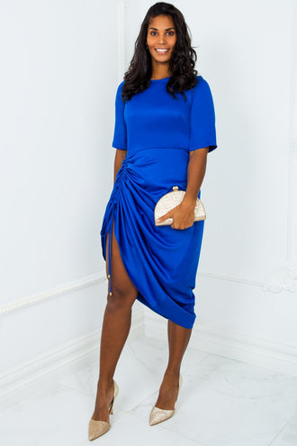 Forever Yours Royal Blue Adjustable Ruched Dress