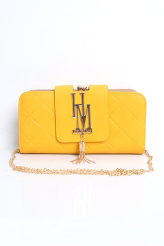 Valencia Yellow Embossed Tassel Clutch Wallet