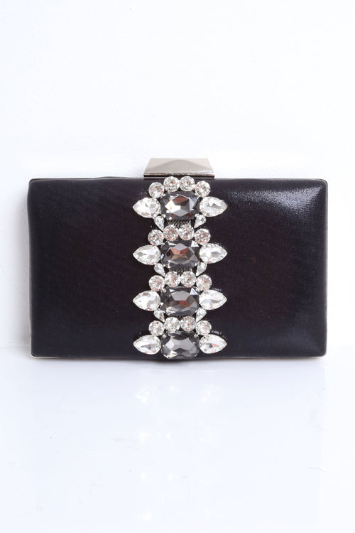 Margaret Black Glittered Embellished Clutch
