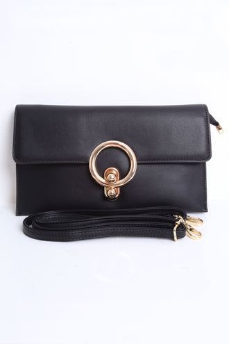Sherry Black Circle Envelope Clutch