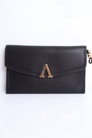 Alexa Black Envelope Clutch With Golden Details