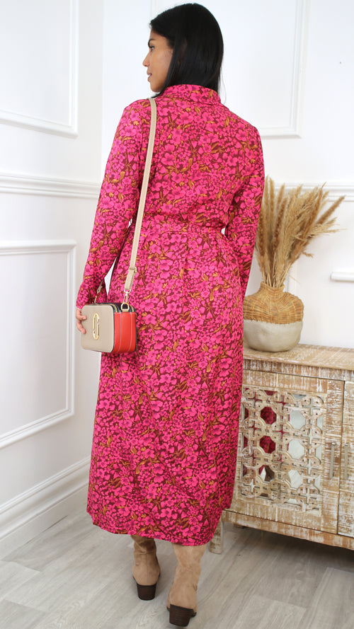 cfdecec5cba Petra Red Floral Wrap Dress