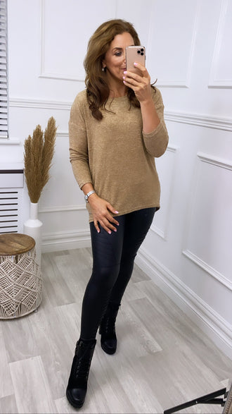 Mia Camel Marl Knitted Top