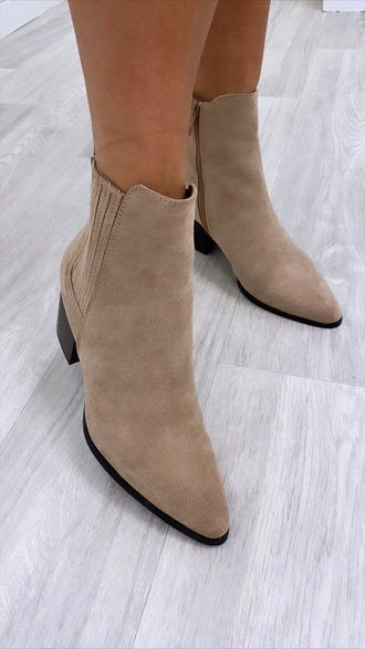 Jessy Beige Suede Ankle Boots