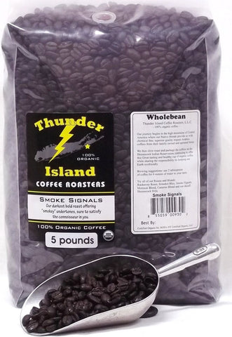 Native American organic coffee Thunder Island smoke signals