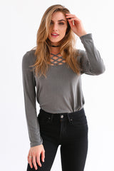 ANDY TOP IN CHARCOAL GREY
