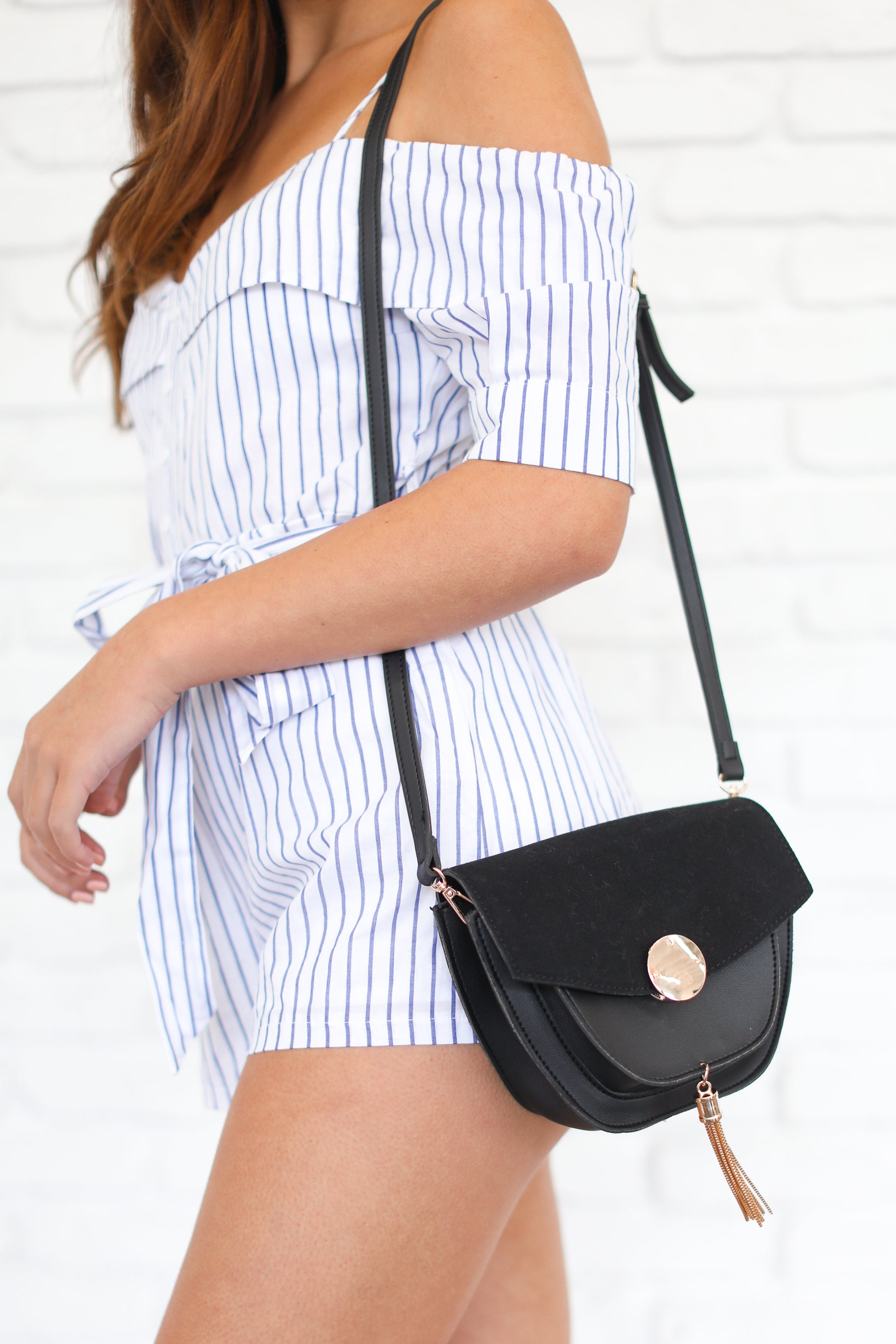 LIVE A LITTLE BLACK TASSEL PURSE