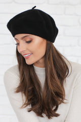 AUDREY WOOL BERET IN BLACK