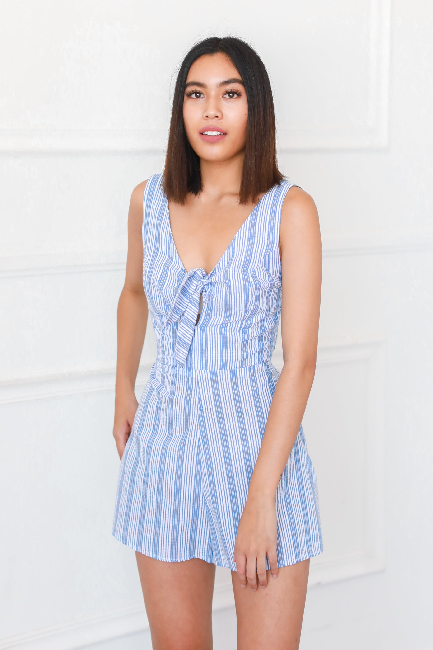 BE CAREFUL BLUE STRIPED ROMPER