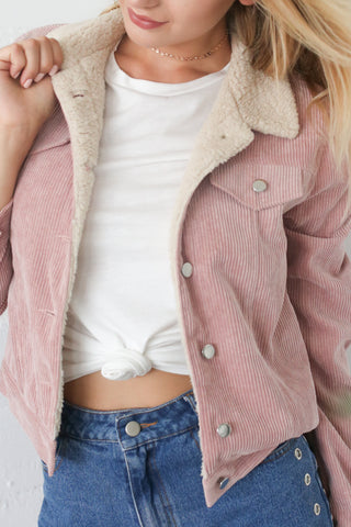 EMA DUSTY PINK CORDUROY JACKET