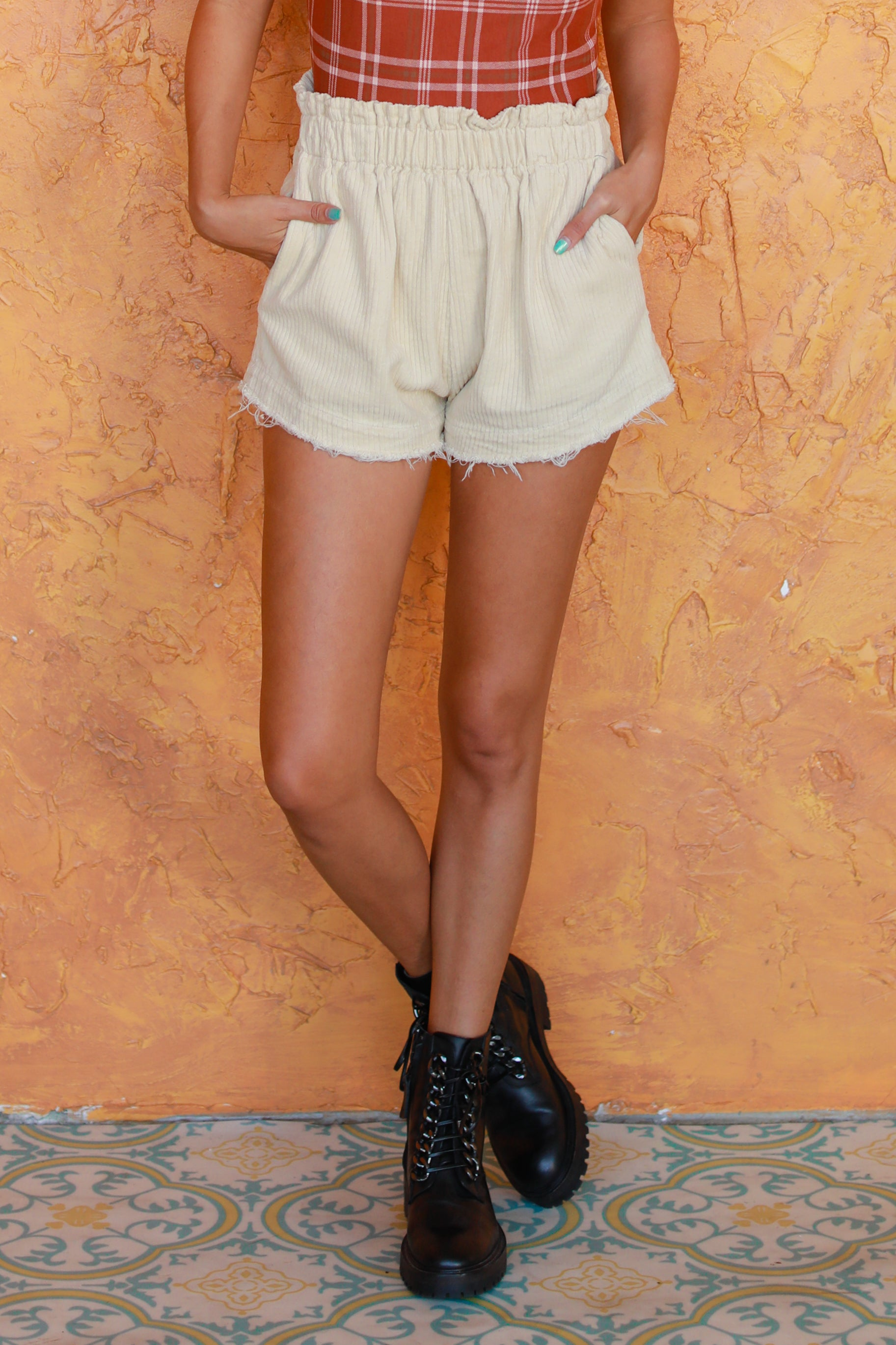 A LITTLE DISTRESSED CORDUROY SHORTS