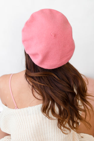 AUDREY WOOL BERET IN DARK PINK