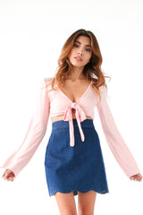 SCALLOPED DENIM SKIRT