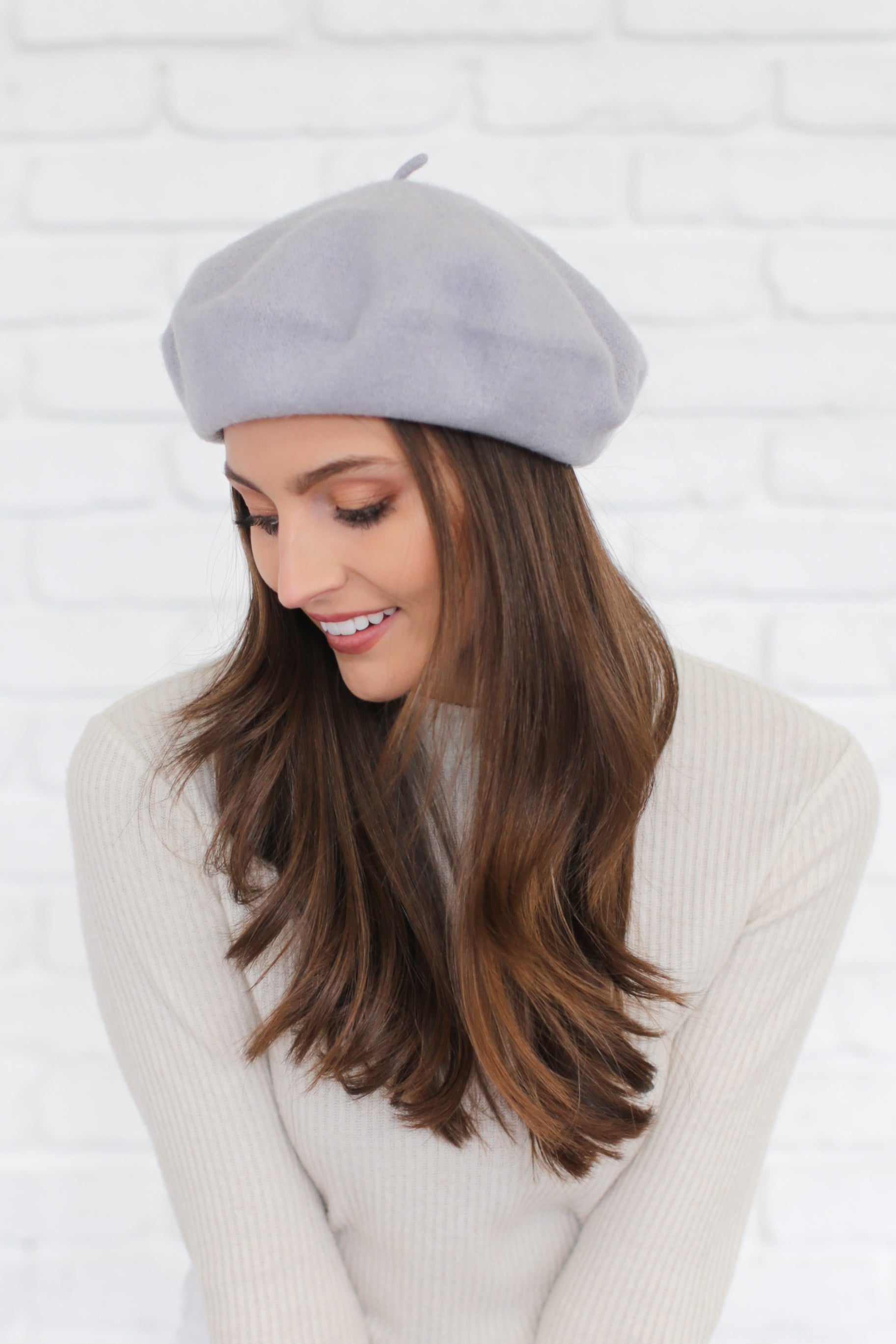 AUDREY WOOL BERET IN SHARK GREY