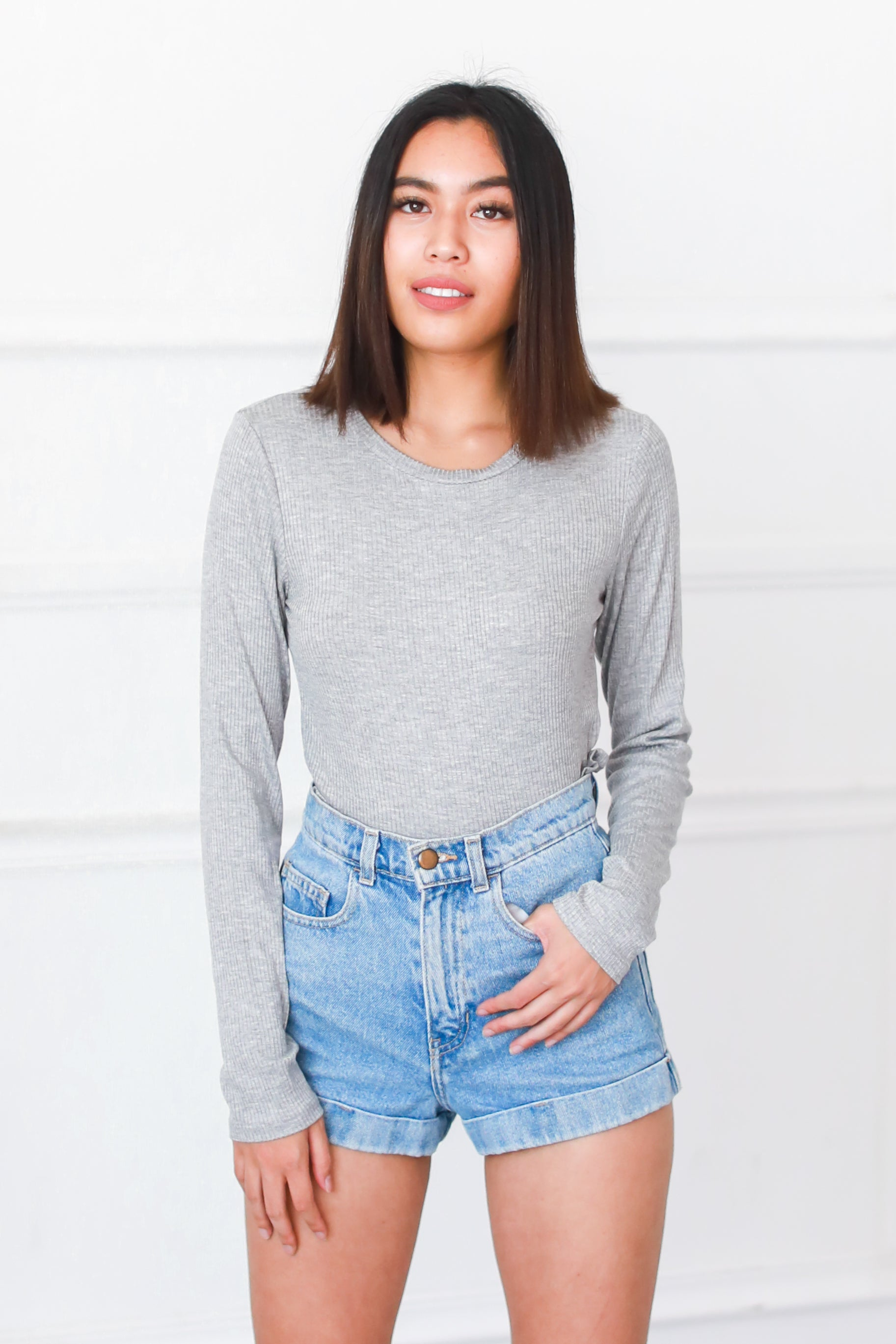 KEEP IT BASIC GREY LONG SLEEVE TOP