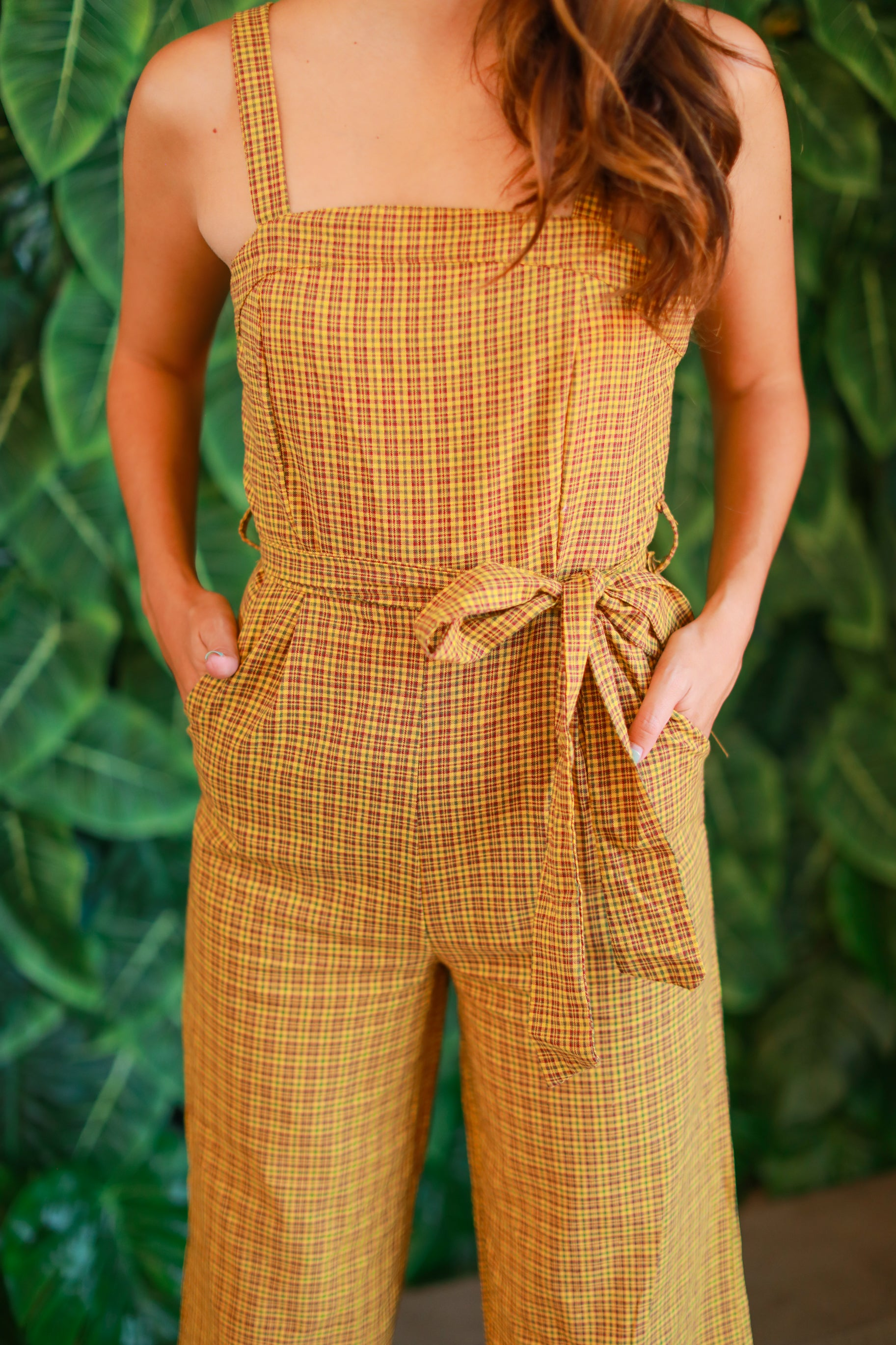 OVER IT PLAID JUMPSUIT