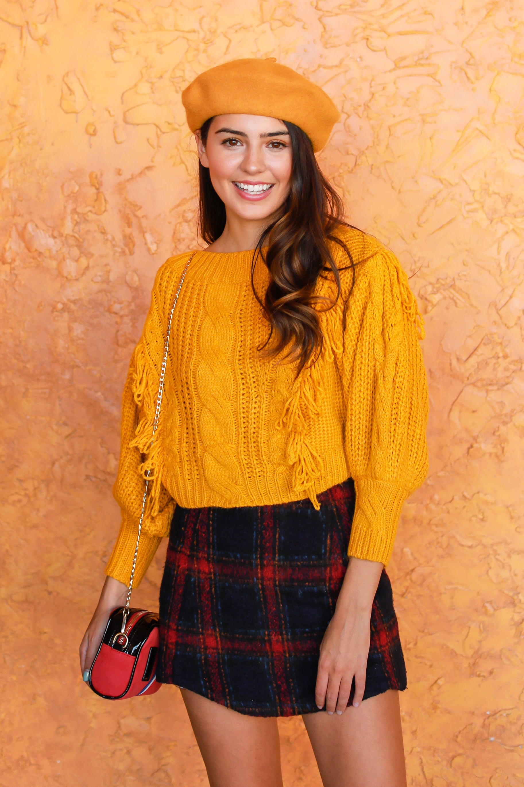 BRIGHT ON TIME FRINGE SWEATER