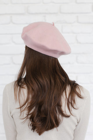 AUDREY WOOL BERET IN PINK