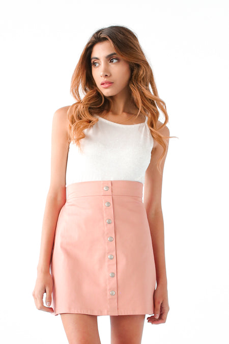 BUTTON DOWN SKIRT IN PEACHY PINK
