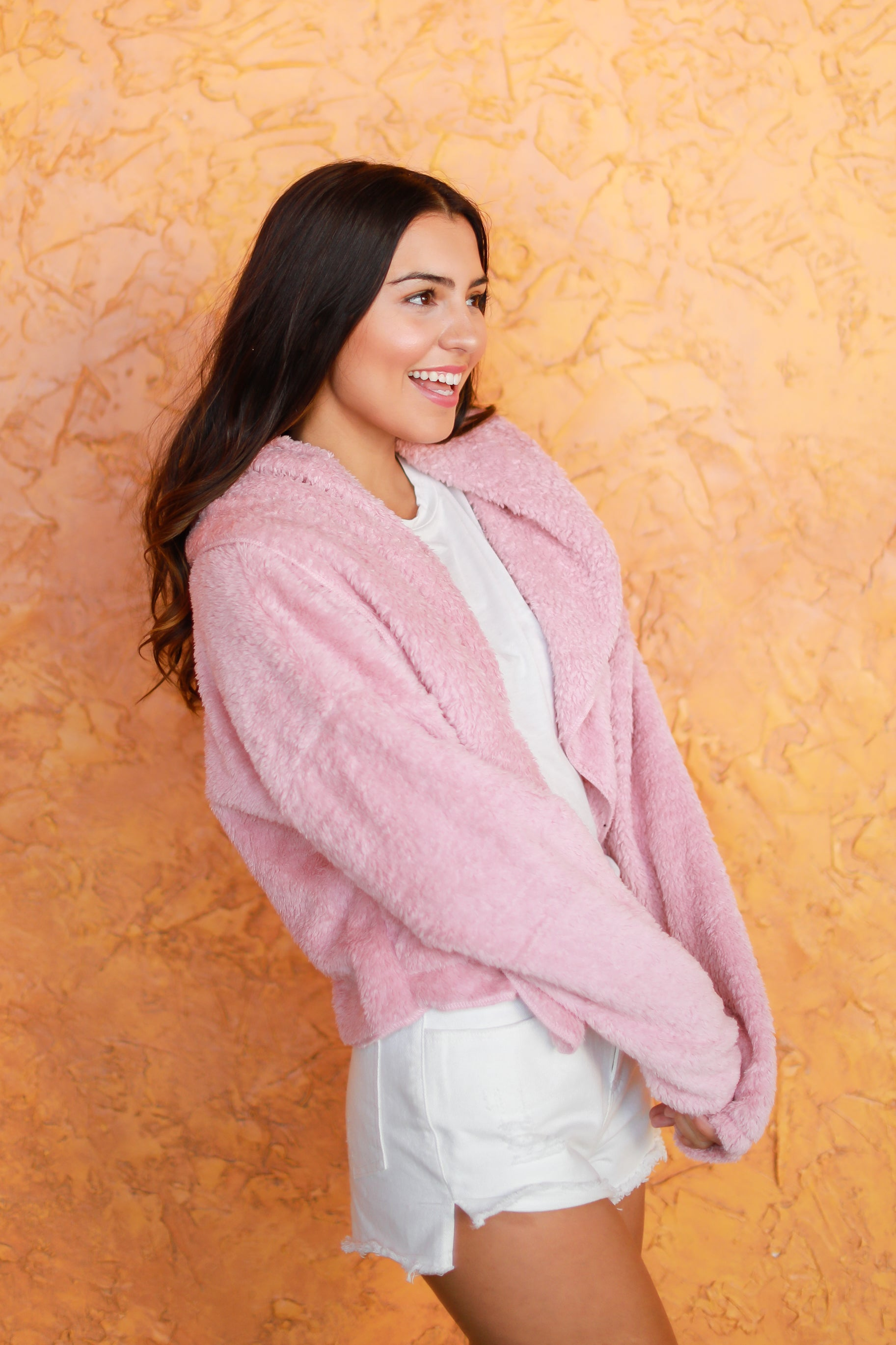 PINK BEFORE YOU ACT FUZZY CARDIGAN