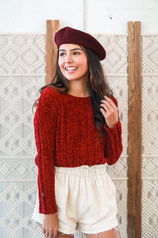 AUDREY WOOL BERET IN BURGUNDY