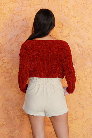 STAY CLOSE RED CROPPED SWEATER