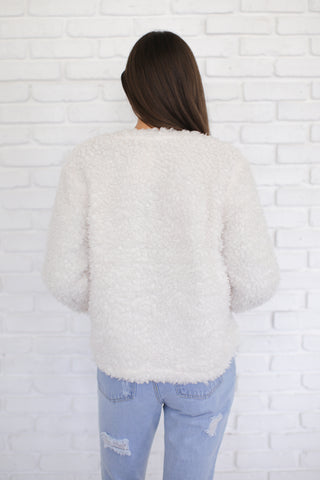 BETTY FAUX FUR CARDIGAN IN IVORY