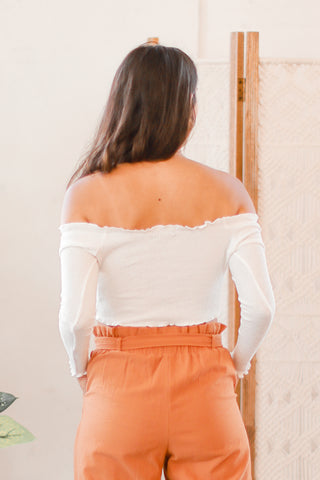 BUTTONED DOWN OFF THE SHOULDER TOP