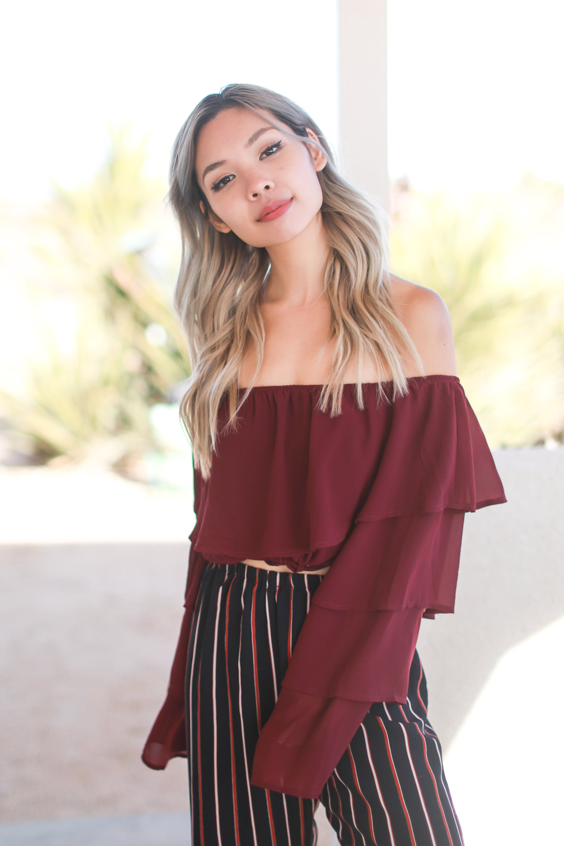 TATI BURGUNDY RUFFLED TOP