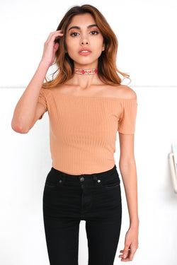 APRICOT OFF THE SHOULDER TOP