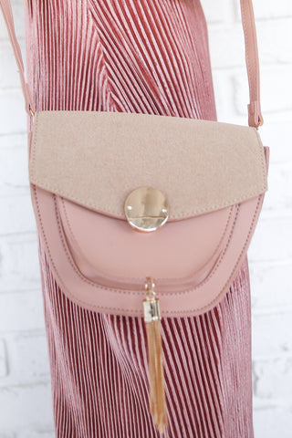 LIVE A LITTLE BLUSH TASSEL PURSE