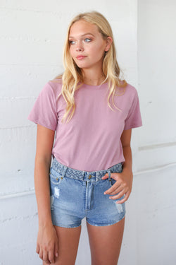 Milla Crew Neck Tee In Mauve