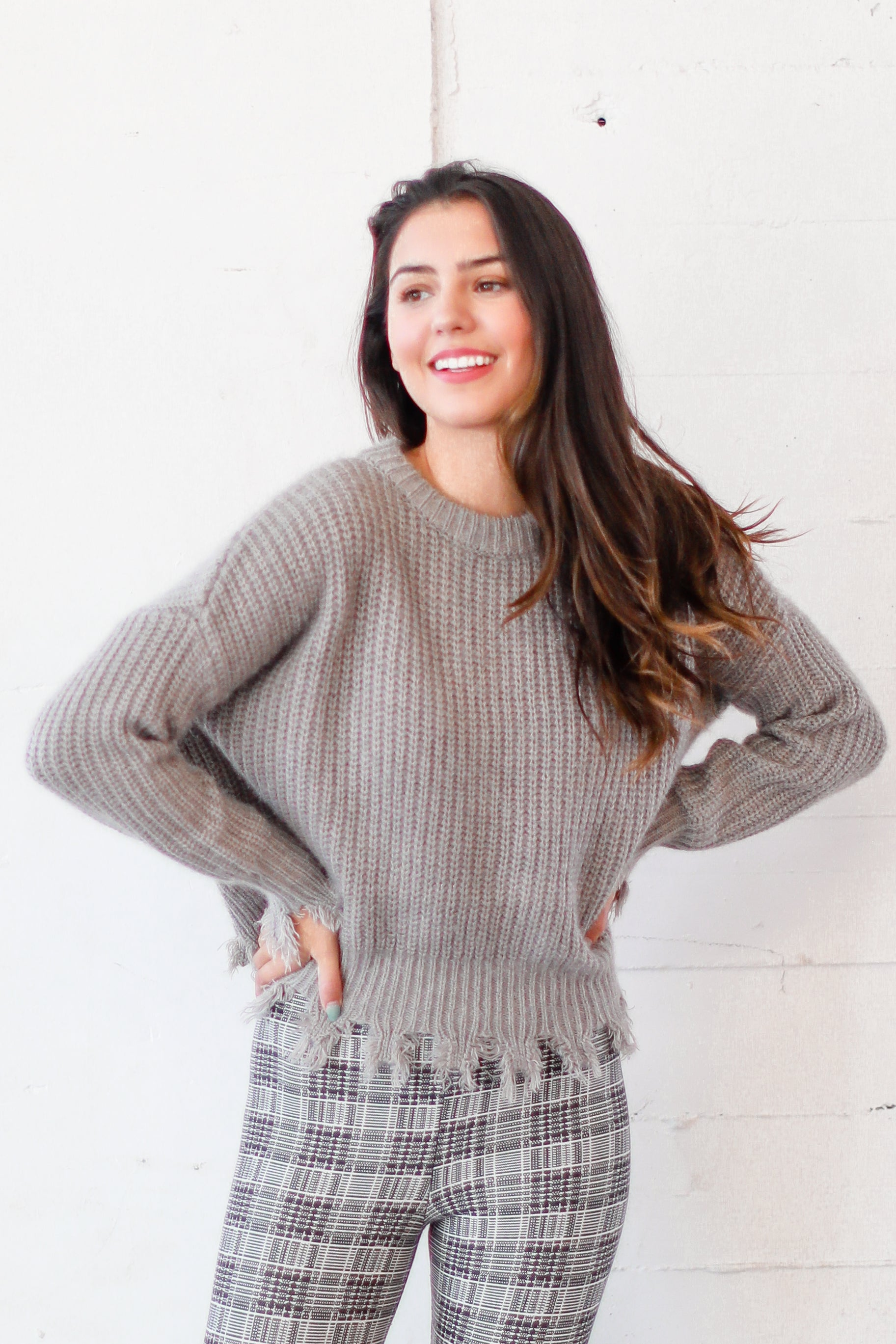 THERE'S TROUBLE GREY DISTRESSED SWEATER