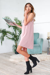 TIEGAN SHIFT DRESS IN MAUVE