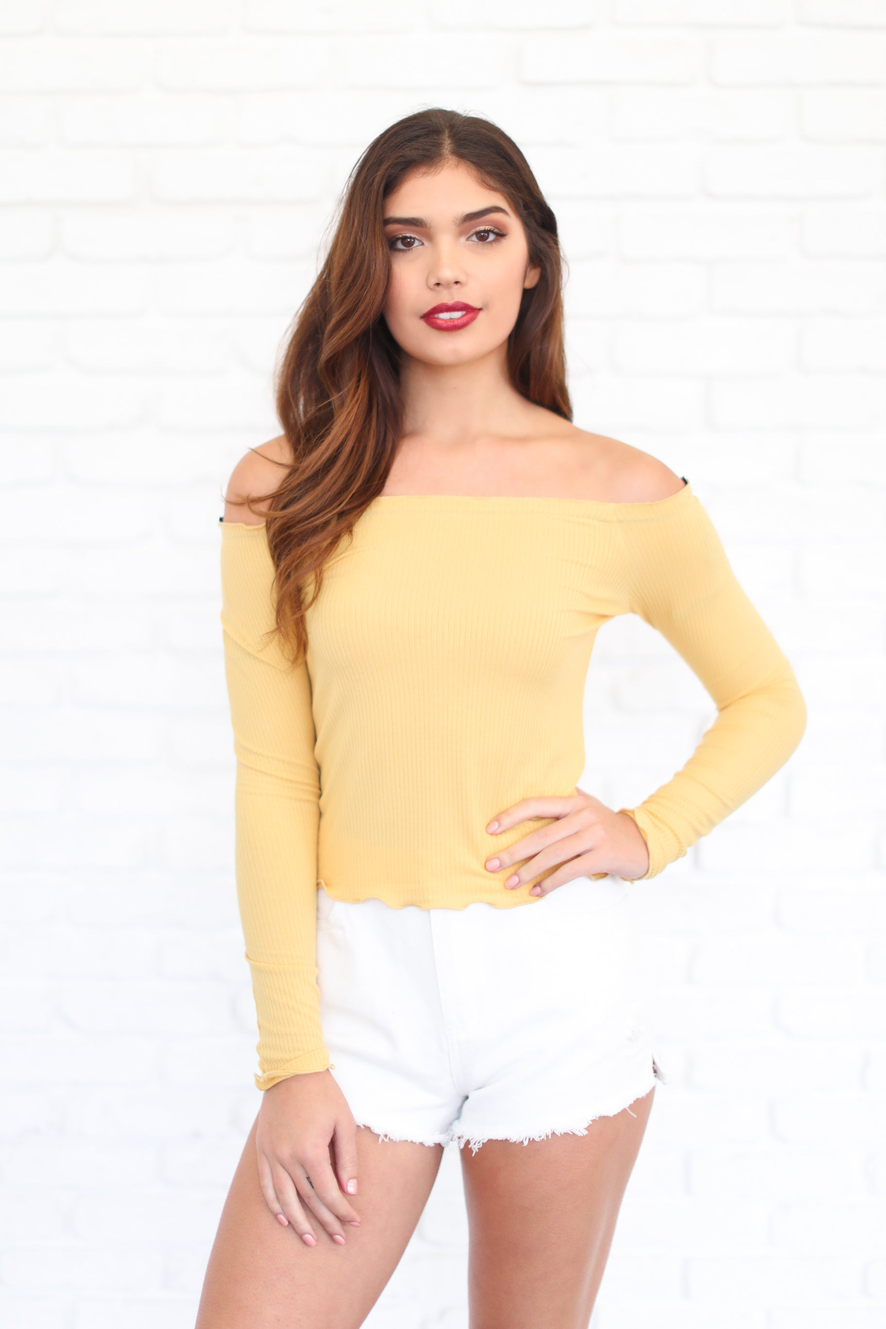 SAMMIE YELLOW OFF THE SHOULDER TOP