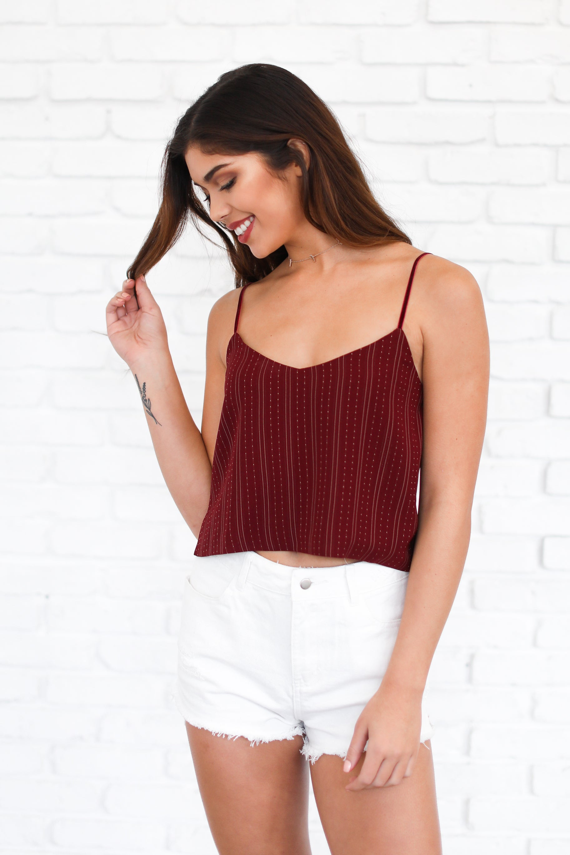 LEANNA RED CROPPED CAMI TOP