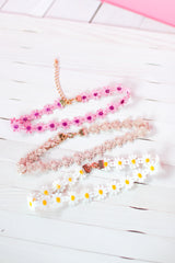 LIV AND JESS daisy chokers in pink, nude and yellow. Thin cute perfect for summer.