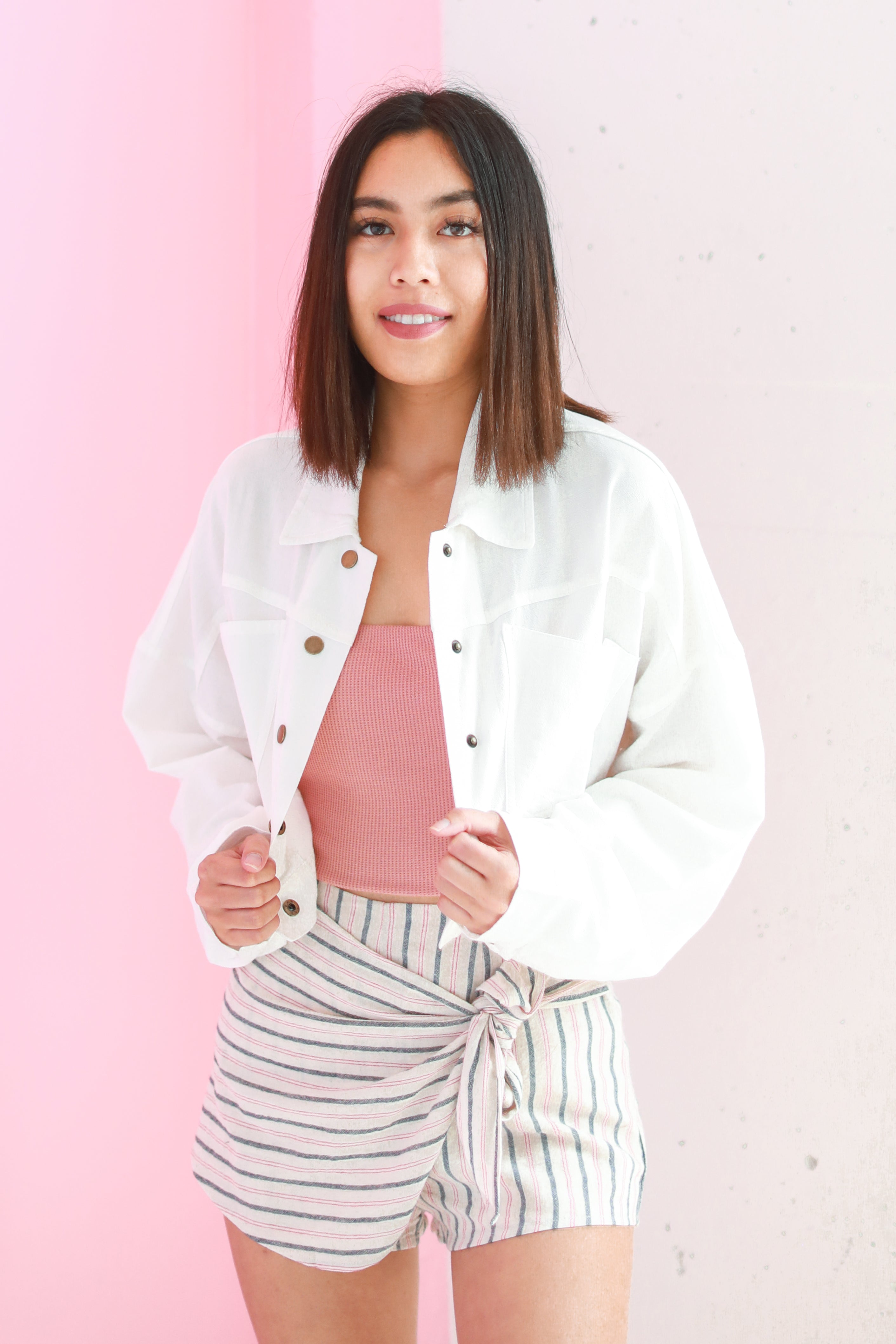 WHITE CROPPED MILITARY JACKET
