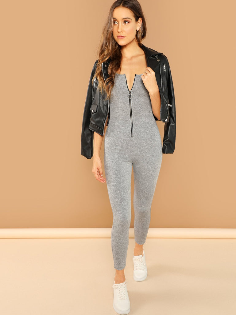 Exposed Zip Front Heather Grey Unitard Jumpsuit