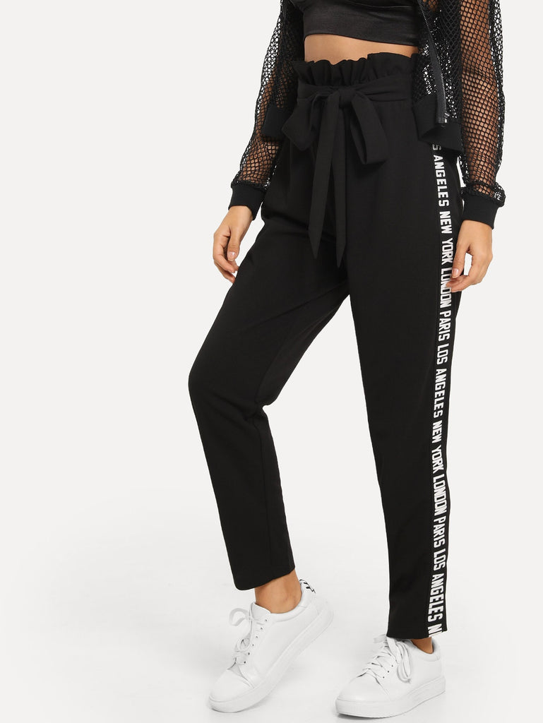 Lettering Side Seam Jersey Pants
