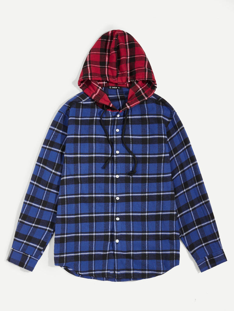 Men Curved Hem Colorblock Plaid Hooded Shirt
