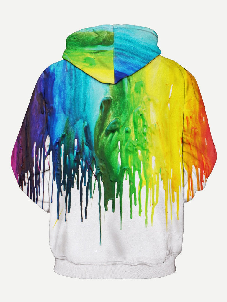 Men Paint Drip Print Hooded Sweatshirt