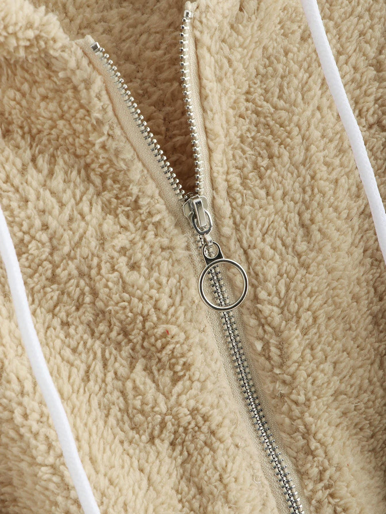 Solid Shearling Hooded Teddy Jacket