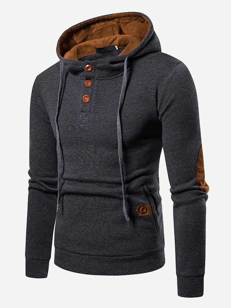 Men Patched Decorated Hooded Sweatshirt